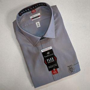 🆕 VAN HEUSEN Pin Cord Flex Collar Dress Shirt